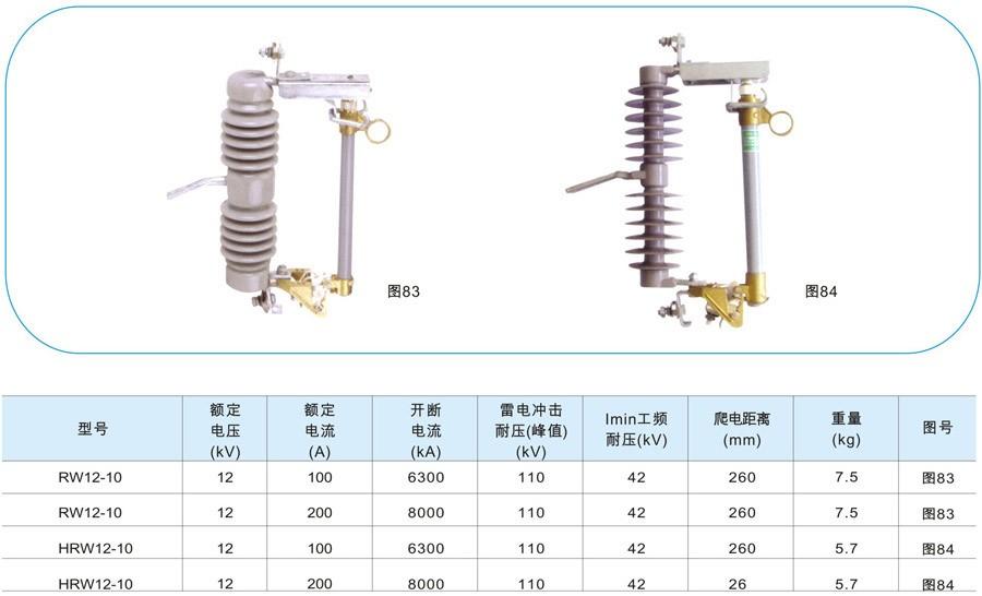 RW12-10/100A跌落式熔断器技术参数