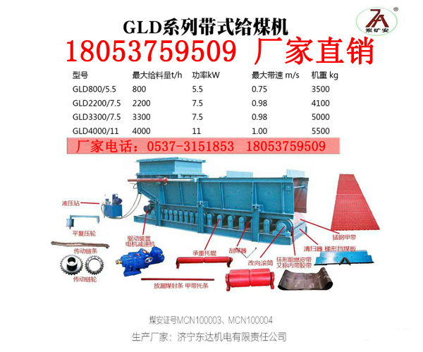 煤矿热销产品GLD3300/7.5/S甲带给煤机液压闸门